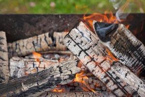 a legna in una griglia in natura. foto