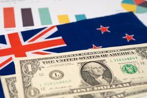 bandiera della Nuova Zelanda sulle banconote in dollari foto