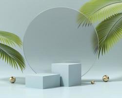 podio della piattaforma dei cubi per l'esposizione del prodotto con il rendering 3d di foglie di palma foto