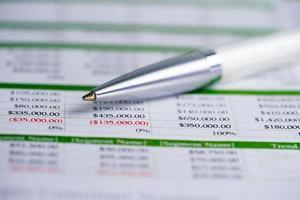 penna su foglio di calcolo per attività di finanza di conto foto