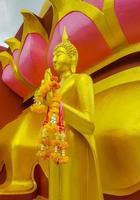 statua dorata del buddha al tempio di wat phra yai, koh samui, thailandia, 2018 foto