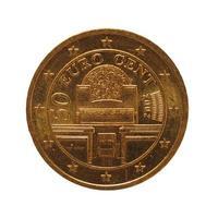 Moneta da 50 centesimi, unione europea, austria isolato su bianco foto