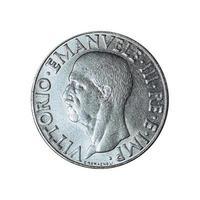 vecchia lira italiana con vittorio emanuele iii re isolato su w foto