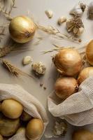 vista dall'alto patate cipolle disposizione foto