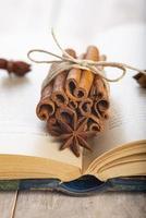 fagottino di bastoncini di cannella e anice stellato su un libro foto