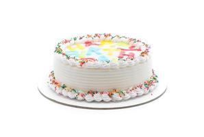 torta di buon compleanno su sfondo bianco foto