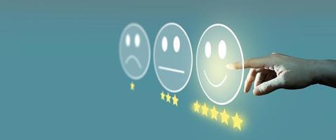 sondaggio sulla soddisfazione del cliente e concetto di valutazione del servizio clienti. foto