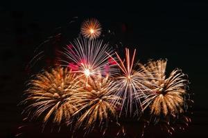 fuochi d'artificio dai colori vivaci in una notte di festa. foto