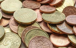 sfondo di monete in euro foto