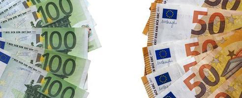 banconote in euro, unione europea isolato su bianco foto