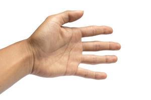 mano d'uomo isolata su uno sfondo bianco foto