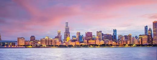 skyline del centro di chicago paesaggio urbano negli stati uniti foto