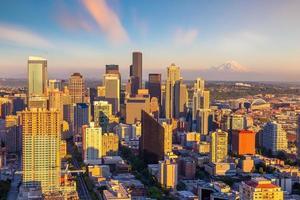 Seattle skyline del centro città paesaggio urbano nello stato di washington, usa foto