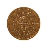 Moneta da 50 euro, unione europea, Portogallo isolato su bianco foto