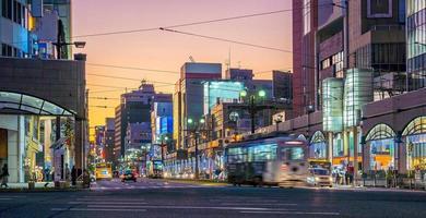 centro della città di kagoshima, paesaggio urbano a kyushu, giappone foto