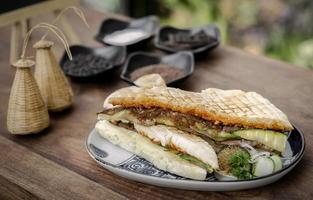 Panino panino vegano con verdure arrosto tostato in giardino rustico messa in tavola all'aperto in sicilia foto