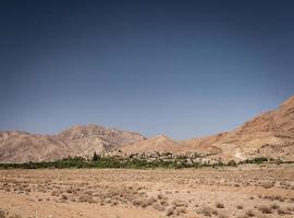 Vista del paesaggio del deserto nell'oasi di Garmeh vicino a Yazd Iran meridionale foto