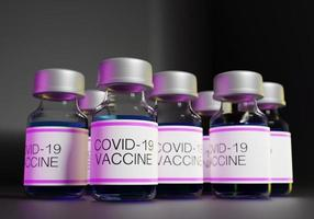 Rendering 3D di bottiglie di vaccini covid-19 in linea foto