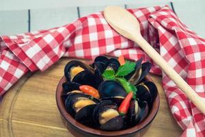cozze e gamberi amati frutti di mare foto