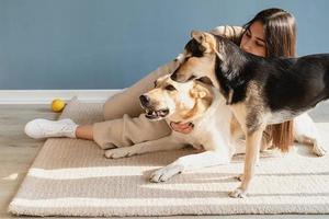 bella donna con cane giocoso che si abbraccia a casa foto