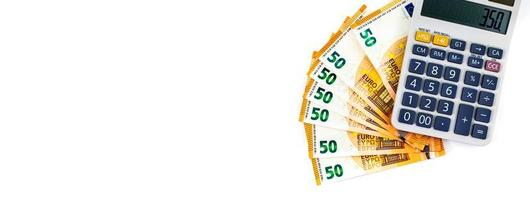 banner dedicato al mondo degli affari e banconote da 50 euro foto