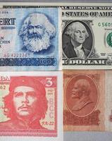 marx, washington, che guevara e lenin sulle banconote foto