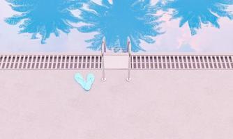 piscina con riflessi di palme foto