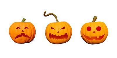 zucche di halloween con facce isolate su bianco foto