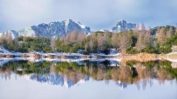 panoramica di un lago di montagna che riflette le montagne foto