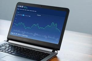 grafico digitale su computer trading online a casa foto
