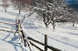 recinzione innevata campagna inverno paesaggio soleggiato foto