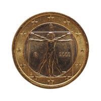 Moneta da 1 euro, unione europea, italia isolato su bianco foto