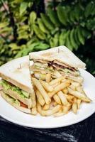 snack club sandwich con patatine fritte alla piastra foto