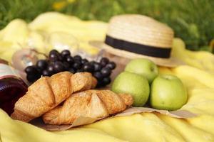 picnic sull'erba con croissant, vino rosato, cappello di paglia, uva foto