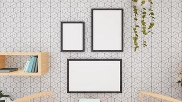 cornice per foto sulla parete del soggiorno, stile 3d