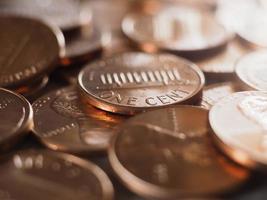 Moneta da 1 centesimo, stati uniti, messa a fuoco selettiva foto