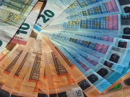 banconote in euro, sfondo dell'unione europea foto