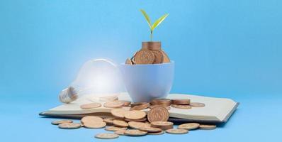 risparmio di denaro tazza con lampadina foto