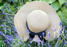 grande cappello di paglia tra i cespugli di lavanda foto