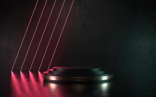 Podio o palcoscenico del prodotto della scena al neon scuro dell'illustrazione 3d per il promo foto