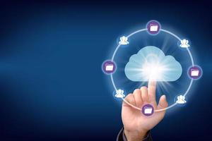 concetto di rete di archiviazione internet tecnologia cloud computing foto