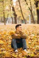il ragazzo con un mazzo di foglie gialle che sorride nel parco autunnale foto