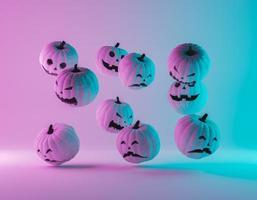 zucche di halloween con illuminazione al neon sfumata foto