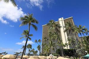 hotel di lusso e palme sulla spiaggia di waikiki, hawaii foto