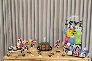 tavola rustica per torta di compleanno per bambini con fattoria, tema campagna foto