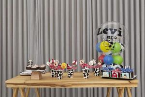 rustico per torta di compleanno per bambini con fattoria, tema campagna. foto