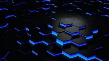 Rendering futuristico 3d esagono astratto blu e nero a nido d'ape foto