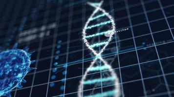 cromosoma del DNA a spirale di tecnologia medica nel laboratorio di analisi dei virus foto