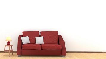 design moderno degli interni del soggiorno con divano rosso sul pavimento in legno foto