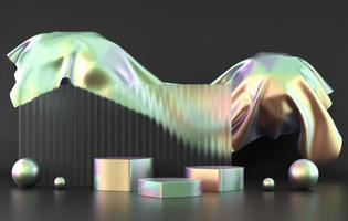oggetto olografico piattaforma podio prodotto vetrina 3d rendering foto
